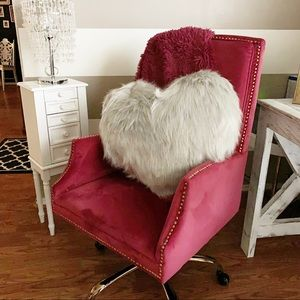 Oversized large faux fur heart throw pillow